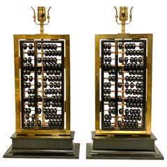 Pair of Antique Abacus Table Lamps