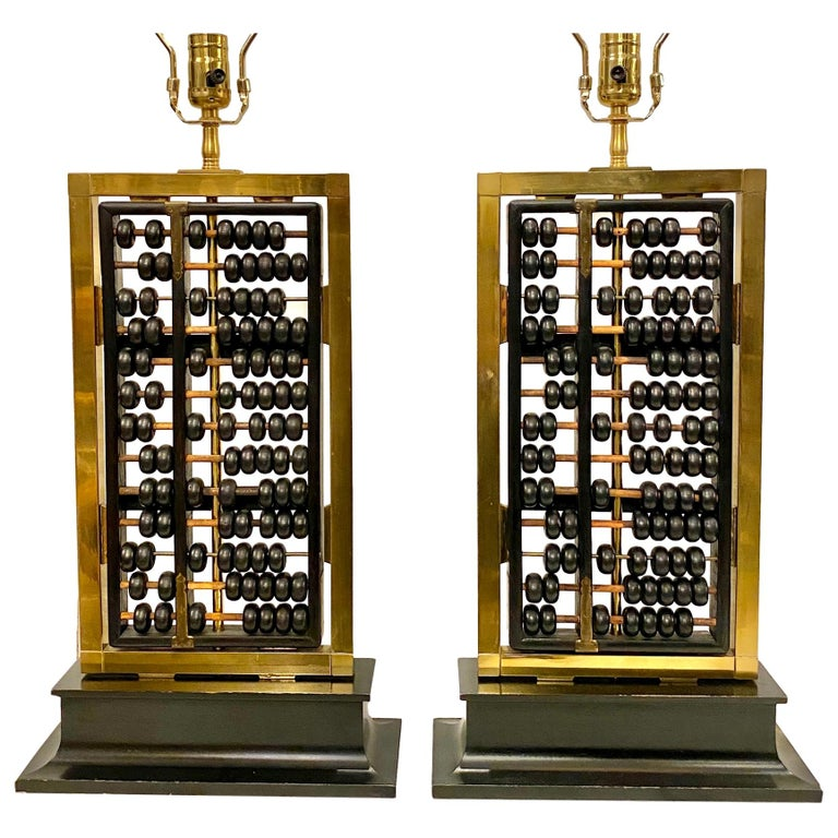Pair of Antique Abacus Table Lamps For Sale