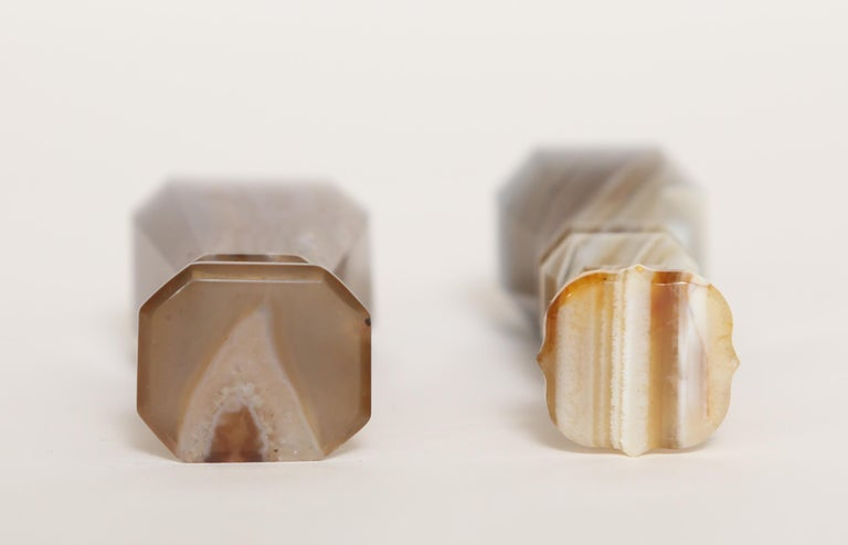 English Pair of Antique Agate Table Seals For Sale