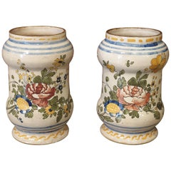 Pair of Antique Albarello Apothecary Jars from Italy