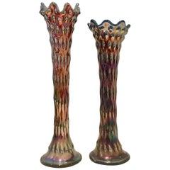 """Pair of Antique American Art Glass """"Rustic"""" Vases"""