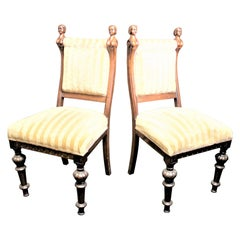 Pair of Antique American Carved Oak Parlor Chairs with Erotic Female Accents