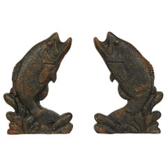 Pair of Antique American Cast Iron Leaping Fish Andirons