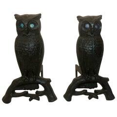 Pair of Antique American Cast Iron Owl Andirons, circa 1900