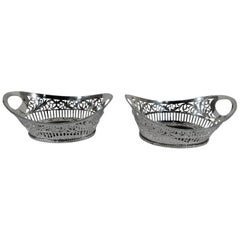 Pair of Antique American Edwardian Pierced Sterling Silver Baskets