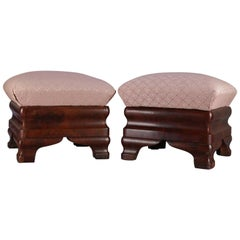 Pair of Antique American Empire Ogee Flame Mahogany Footstools with Storage