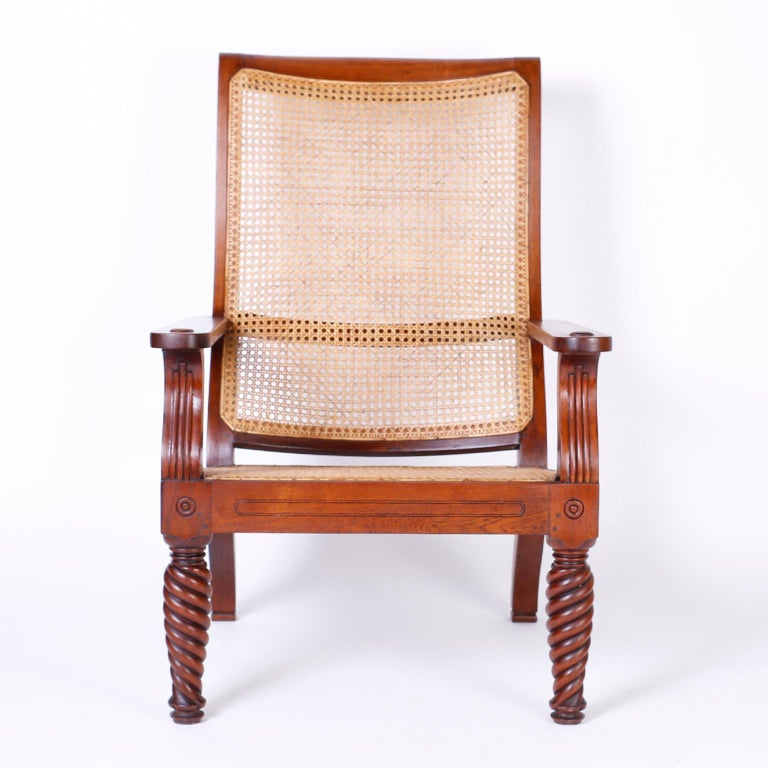 British Colonial Pair of Antique Anglo-Indian Plantation Chairs For Sale