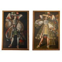 Pair of Antique Archangel Paintings