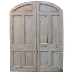 Pair of Antique Arched Pine Double Doors