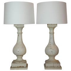 Pair of Antique Architectural Column Lamps