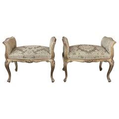 Pair of Antique Arm Benches, Italian Baroque Giltwood