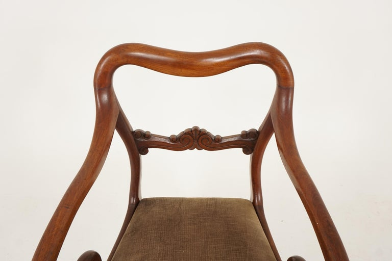Mid-19th Century Pair of Antique Armchairs, Victorian Mahogany Dining Armchairs, Library Chairs For Sale