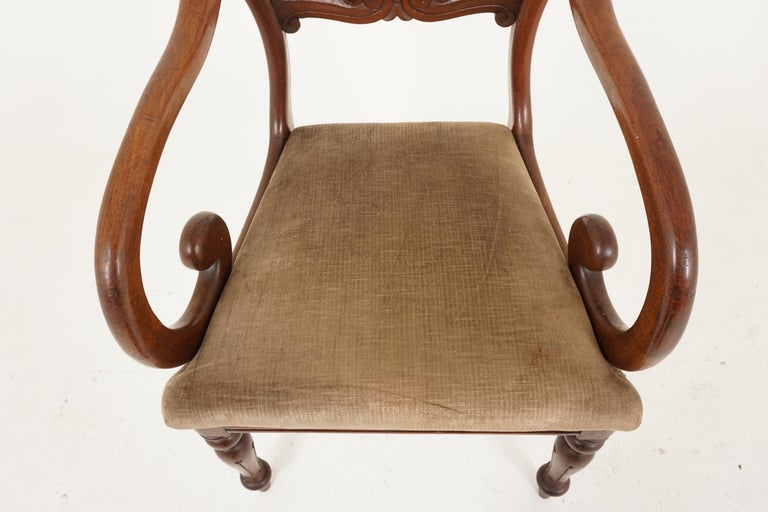 Pair of Antique Armchairs, Victorian Mahogany Dining Armchairs, Library Chairs For Sale 1