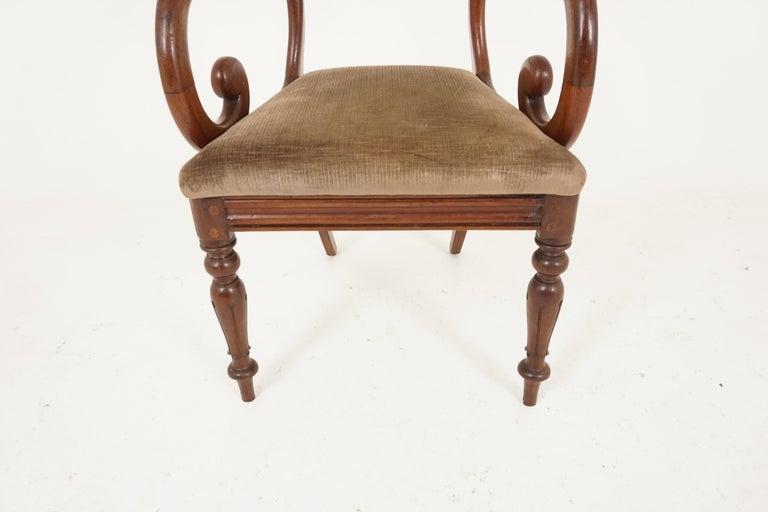 Pair of Antique Armchairs, Victorian Mahogany Dining Armchairs, Library Chairs For Sale 2