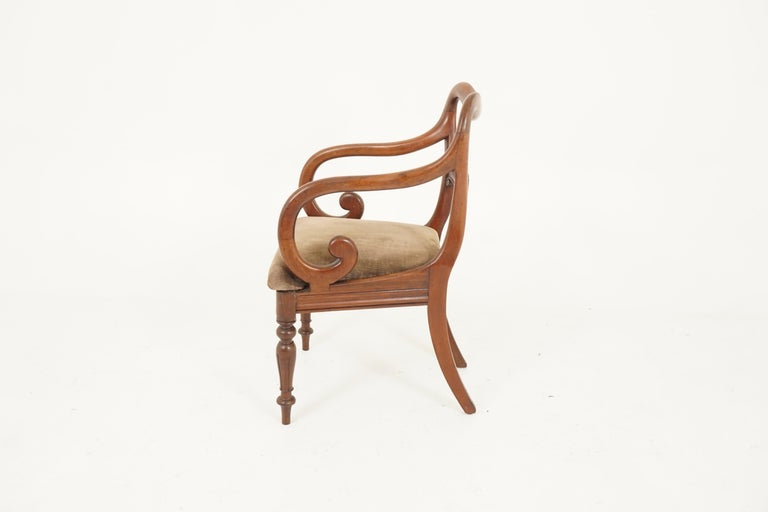 Pair of Antique Armchairs, Victorian Mahogany Dining Armchairs, Library Chairs For Sale 3
