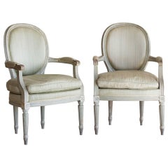 Pair of Antique Armchairs in Seafoam, circa 1900