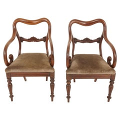 Pair of Antique Armchairs, Victorian Mahogany Dining Armchairs, Library Chairs