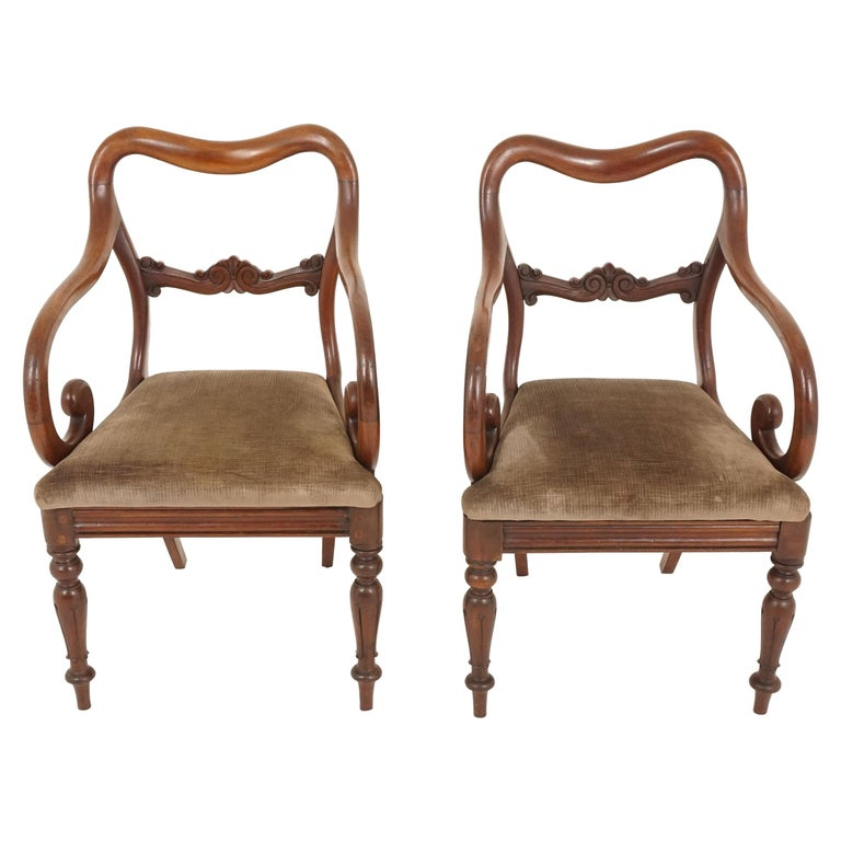Pair of Antique Armchairs, Victorian Mahogany Dining Armchairs, Library Chairs For Sale