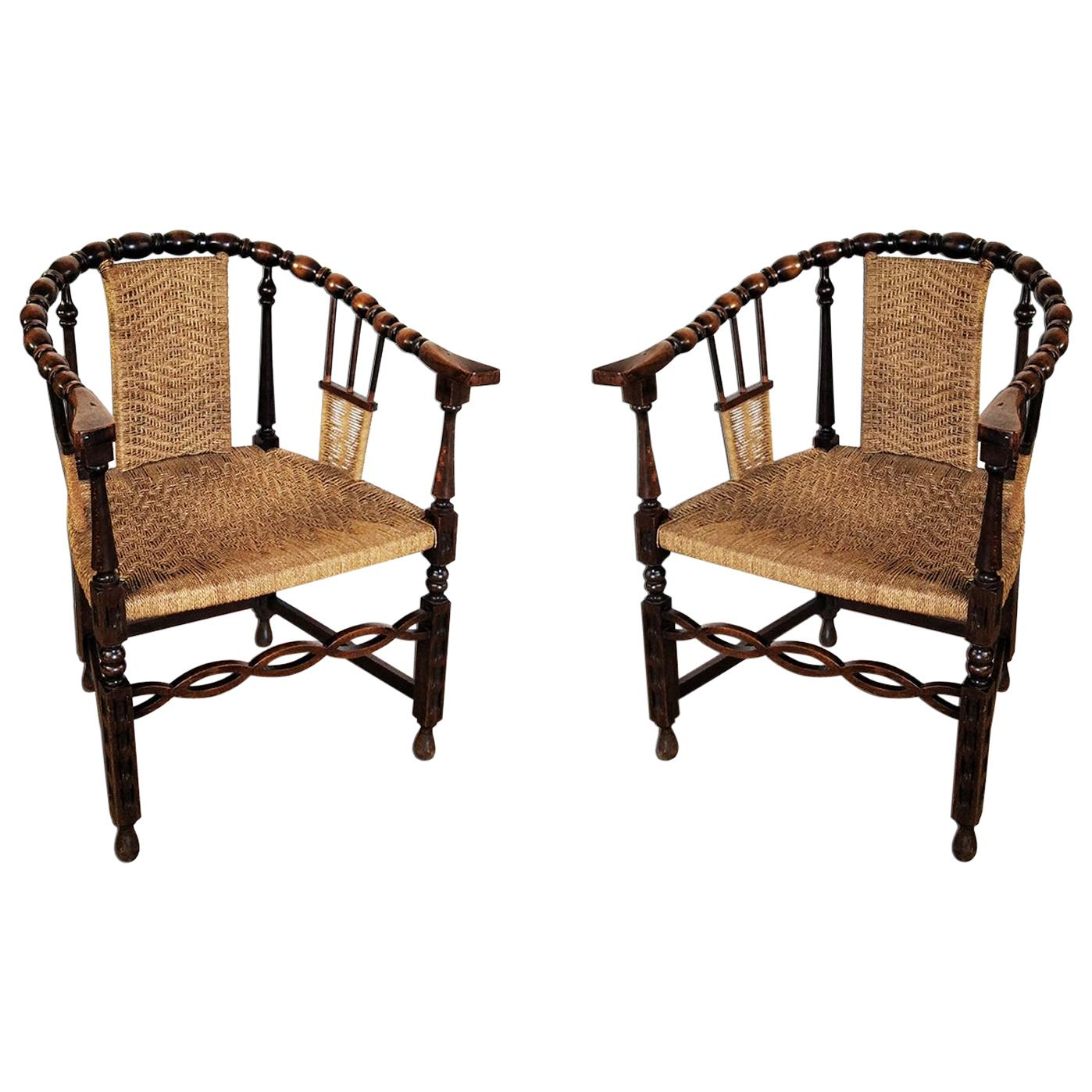Pair of Antique Armchairs With Turned Wood