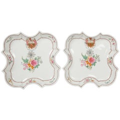 Pair Antique Armorial Porcelain Dishes with Armorial of Inglis Made circa 1830