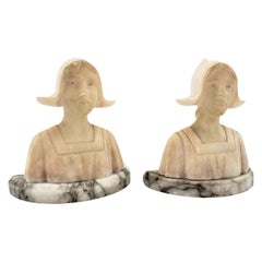 Pair of Antique Art Deco Carved Alabaster Bookends of Figural Maiden Busts
