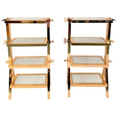 Pair of Antique Art Deco Gold-Plated and Mirrored End Tables, circa 1940-1950