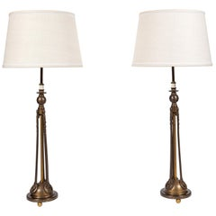 Pair of Antique Art Deco or Beaux Arts Tall Metal Lamps with Aged Brass Finish