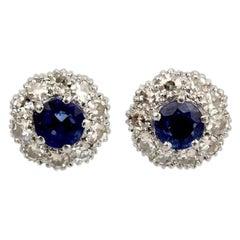 Pair of Antique Art Deco Platinum, Sapphire and Diamond Stud Earrings