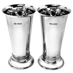 Pair of Antique Art Deco Sterling Silver Fluted Silver Flower Vases, 1909