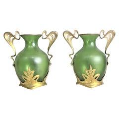 Pair of Antique Art Nouveau Green Austrian Vases with Gilt Metal Mounts