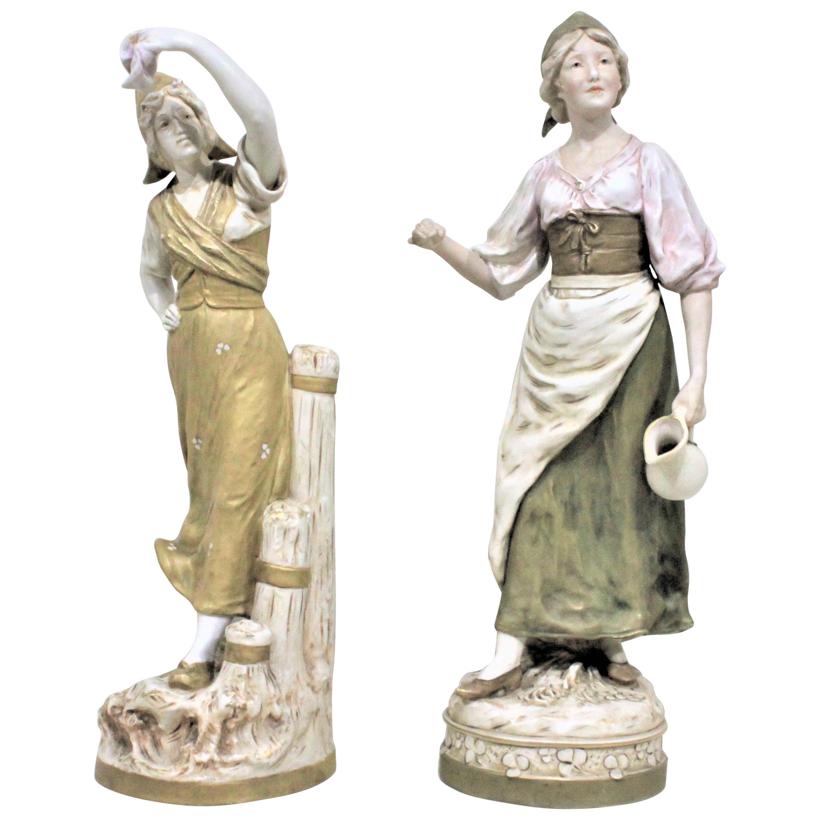 Pair of Antique Art Nouveau Royal Dux Porcelain Figurines