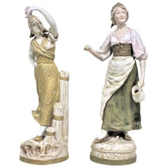 Pair of Antique Art Nouveau Royal Dux Porcelain Figurines
