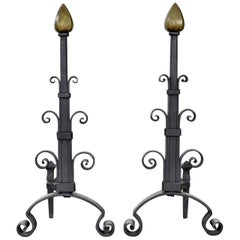 Pair of Antique Arts & Crafts Art Deco Hand Wrought Iron and Bronze Andirons