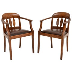 Pair of Antique Arts & Crafts Solid Oak Armchairs