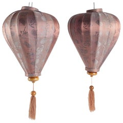 Pair of Antique Asian Lanterns in Silk and Wood, Asia, China
