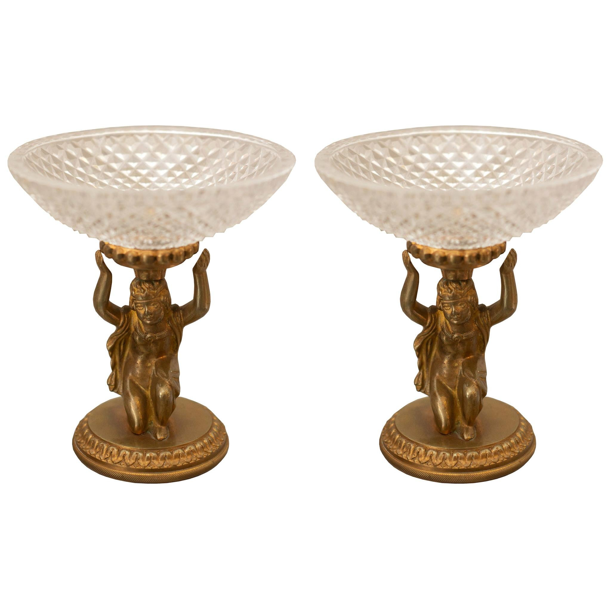 Pair of Antique Baccarat Cut Crystal and Brass Compotes