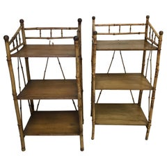Pair of Antique Bamboo Stands with Three Shelves