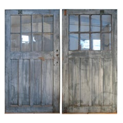 Pair of Antique Barn Doors with Divided Pane Windows