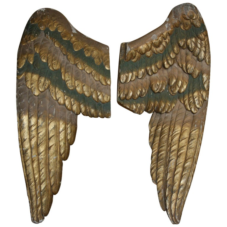 Pair of Antique Baroque Angel Wings, Hand Carved Wood and Giltwood For Sale