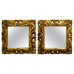 Pair of Antique Baroque Handcarved Square Italian Giltwood Mirror