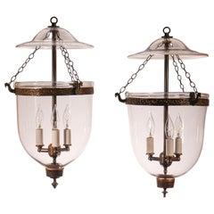 Pair of Antique Bell Jar Lanterns