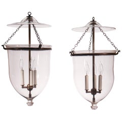 Pair of Antique Bell Jar Lanterns