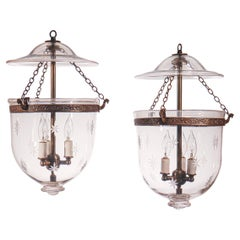 Pair of Antique Bell Jar Lanterns with Etched Stars
