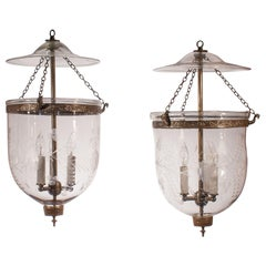 Pair of Antique Bell Jar Lanterns with Floral Etching