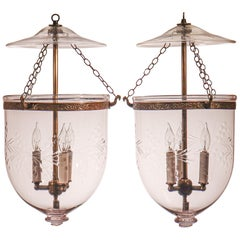 Pair of Antique Bell Jar Lanterns with Vine Etching