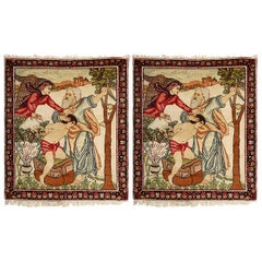 Pair of Antique Biblical Kerman Persian Pictorial Rug. Size: 2 ft. 6 in x 3 ft