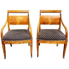 Pair of Antique Biedermeier Inlaid Armchairs