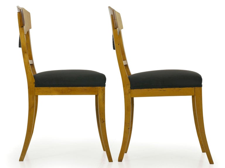 Pair of Antique Biedermeier Style Birch Fan Carved Side Chairs, 19th Century For Sale 14