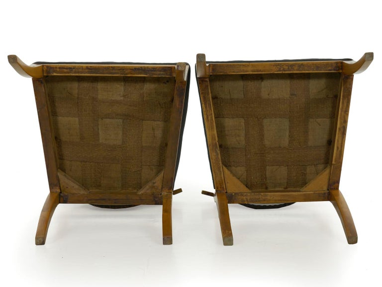Pair of Antique Biedermeier Style Birch Fan Carved Side Chairs, 19th Century For Sale 17