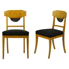 Pair of Antique Biedermeier Style Birch Fan Carved Side Chairs, 19th Century